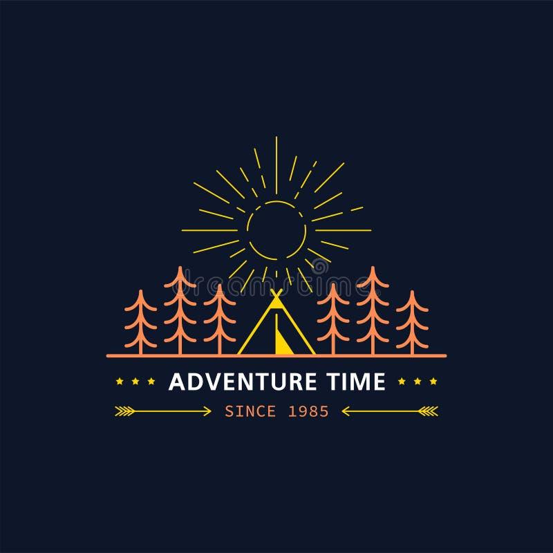 Logo del campeggio estivo illustrazione di stock