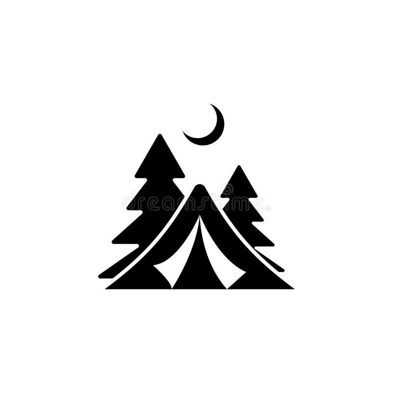 Logo del campo Emblema di campeggio della foresta con la tenda turistica Illustrazione di vettore illustrazione di stock