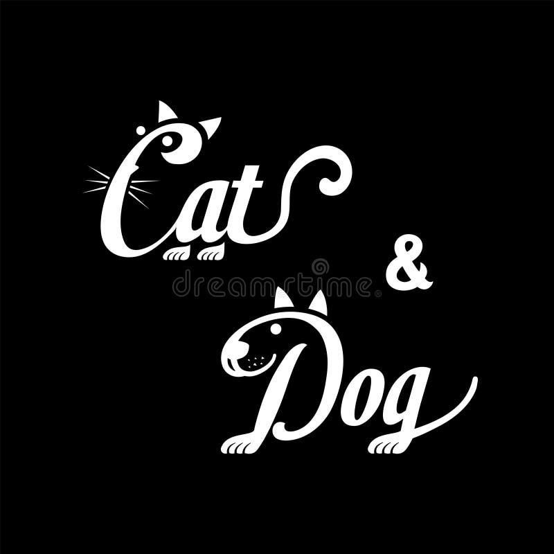 Logo del cane e del gatto Progettazione di iscrizione in bianco e nero Illustrazione di vettore del cane e del gatto royalty illustrazione gratis
