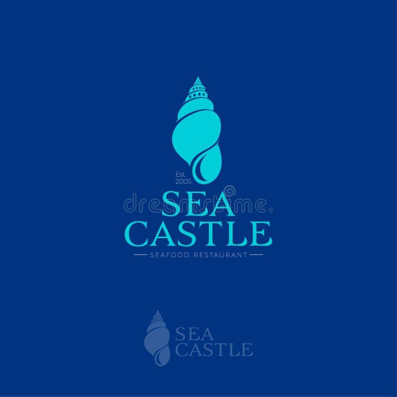 Logo del castello del mare Emblema del ristorante dei frutti di mare Logo della villa o dell'hotel royalty illustrazione gratis