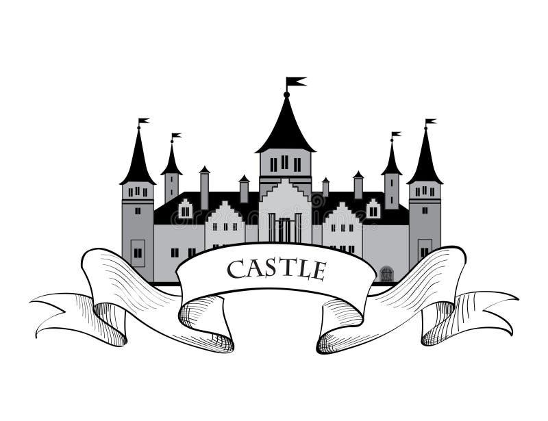 Logo del castello Retro emblema della costruzione etichetta architettonica illustrazione di stock