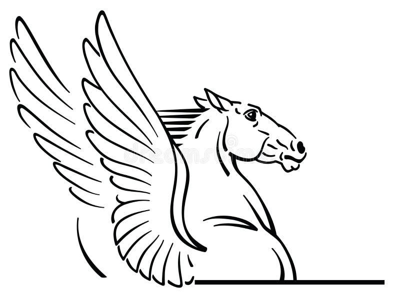 Logo del cavallo alato mitologico di Pegaso illustrazione vettoriale