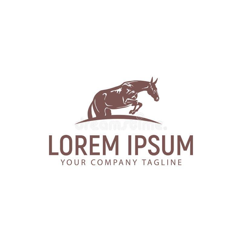 Logo del cavallo di salto modello d'annata di concetto di progetto illustrazione di stock