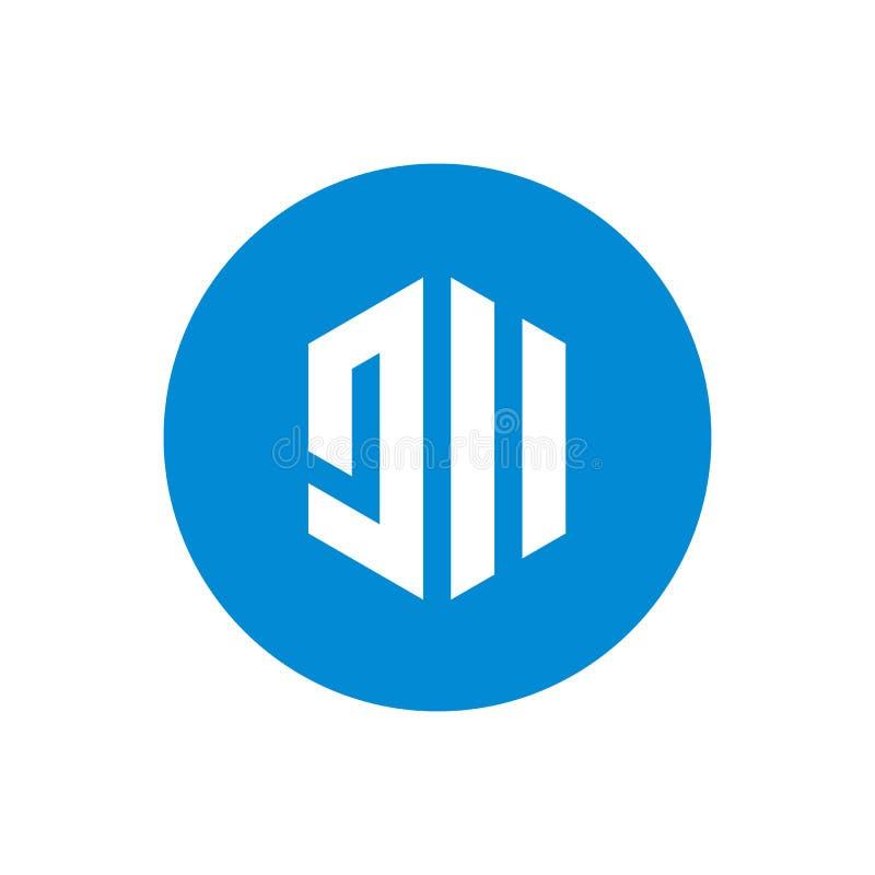 Logo del cerchio della lettera iniziale JII Icona geometrica creativa di esagono Progettazione dell'illustrazione di vettore royalty illustrazione gratis