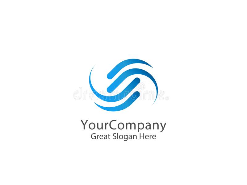 Logo del cerchio della lettera s progettazione astratta del segno di alfabeto illustrazione di stock