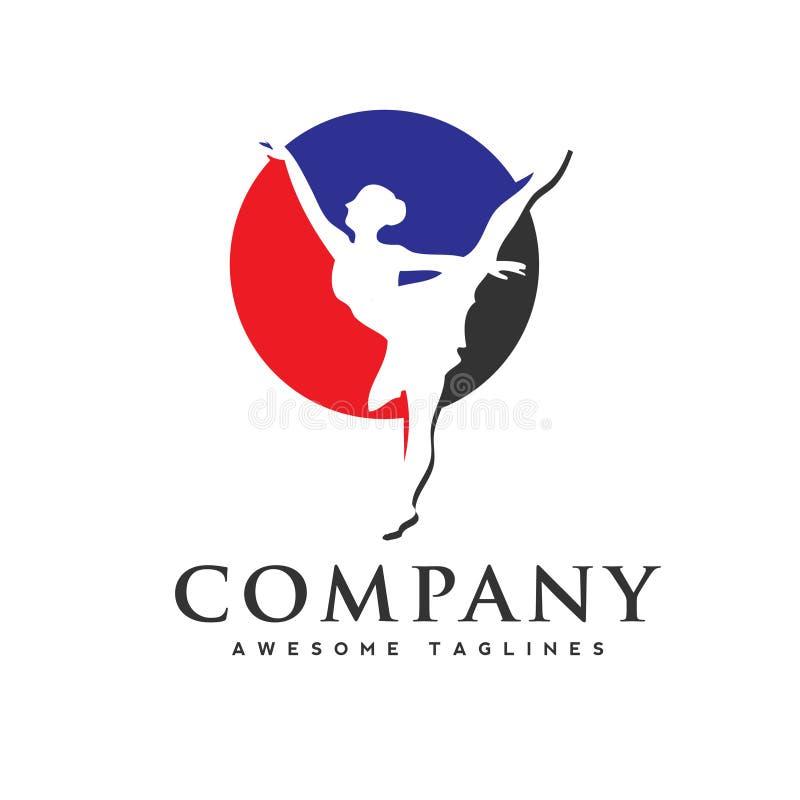 Logo del club di ballo, ballerina nel logo di ballo illustrazione di stock