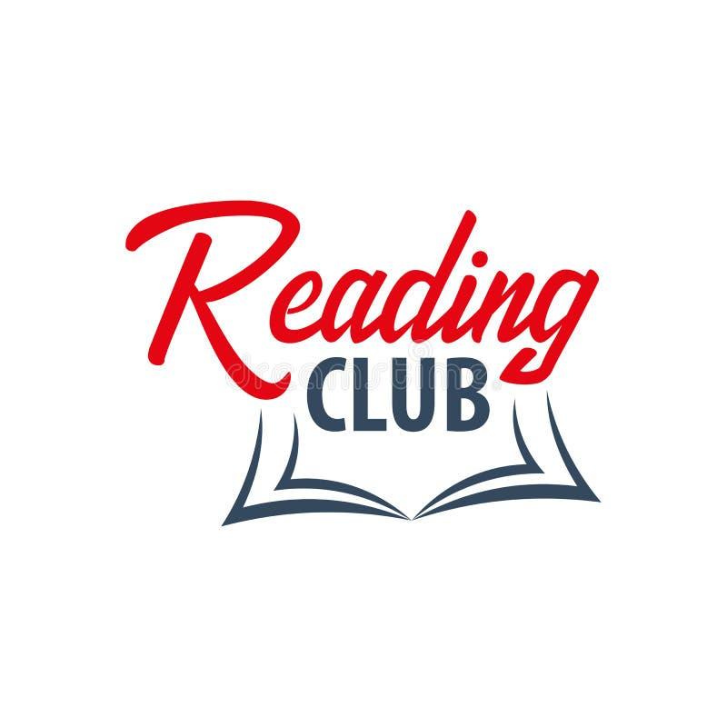 Logo del club di lettura Istruzione ed emblema del libro Illustrazione di vettore illustrazione di stock