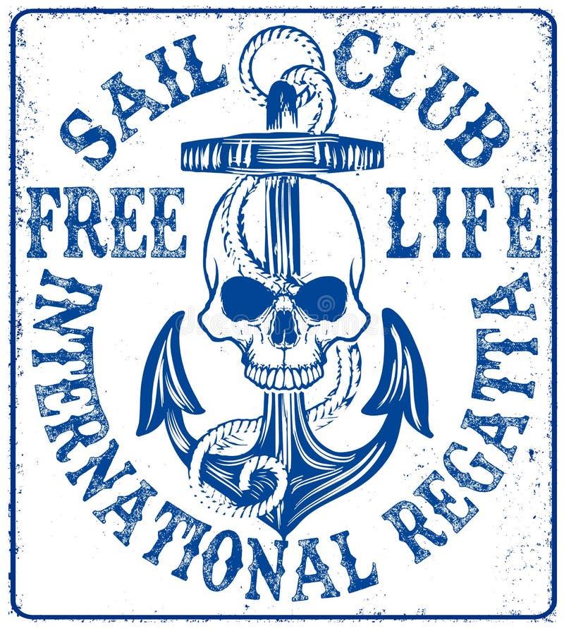 Logo del club di navigazione con l'ancora illustrazione di stock