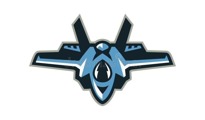 Logo del combattente, intercettore, aereo Attrezzatura militare Illustrazione di vettore, uno stile piano illustrazione vettoriale