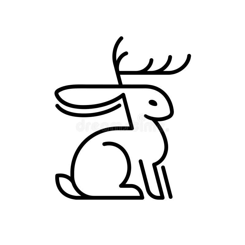 Logo del coniglio di Jackalope royalty illustrazione gratis