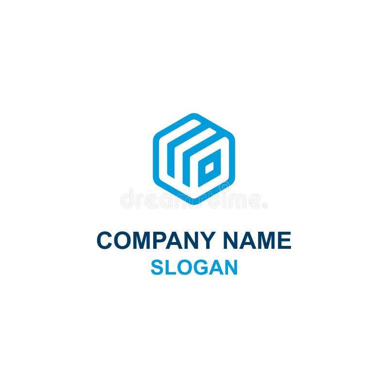 Logo del contenitore di cubo di iniziale della lettera di WD illustrazione vettoriale