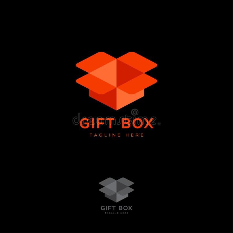 Logo del contenitore di regalo Forma della scatola di illusione Negozio online dei regali illustrazione vettoriale