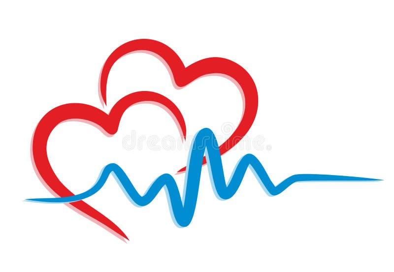 Logo del cuore con il cardiogramma illustrazione di stock