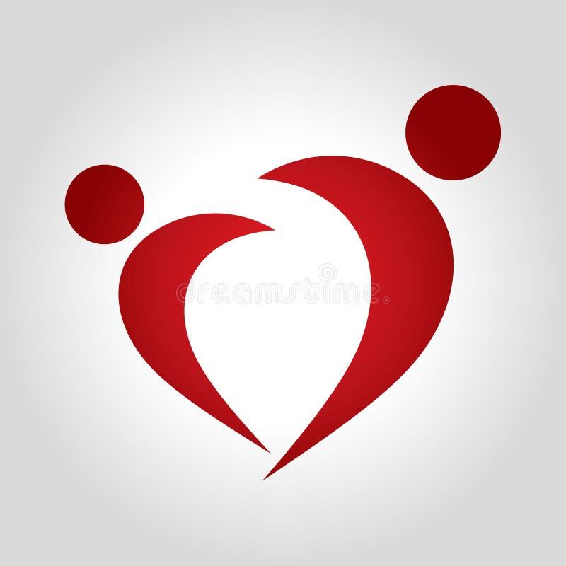 Logo del cuore della gente illustrazione di stock