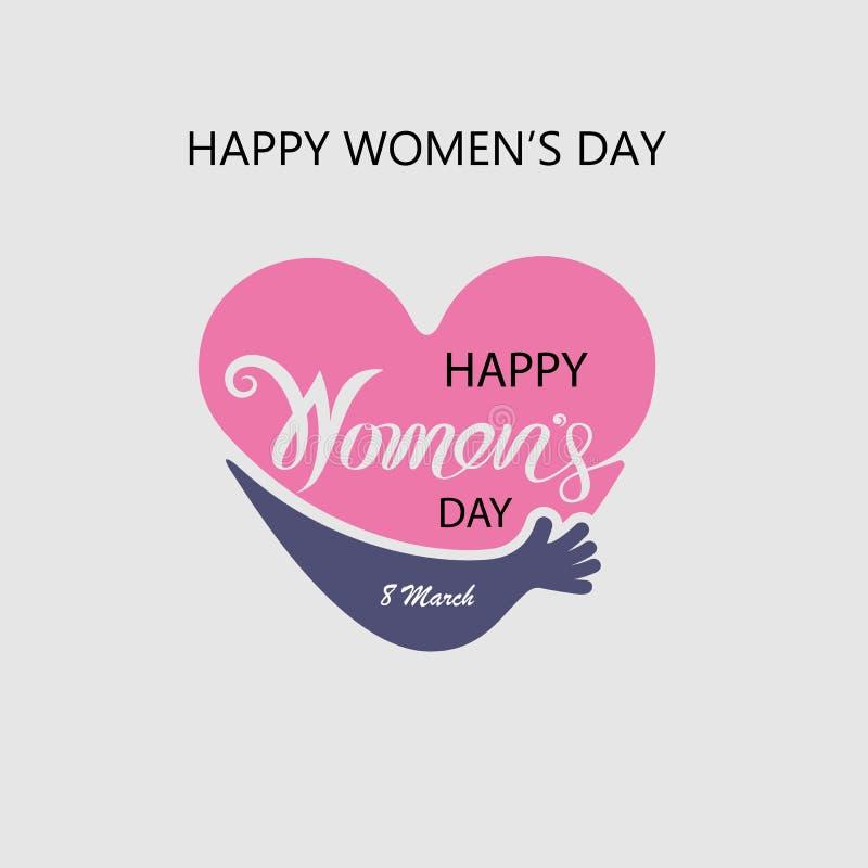 Logo del cuore ed elementi tipografici di progettazione di Giornata internazionale della donna felice rosa Simbolo di giorno del  royalty illustrazione gratis