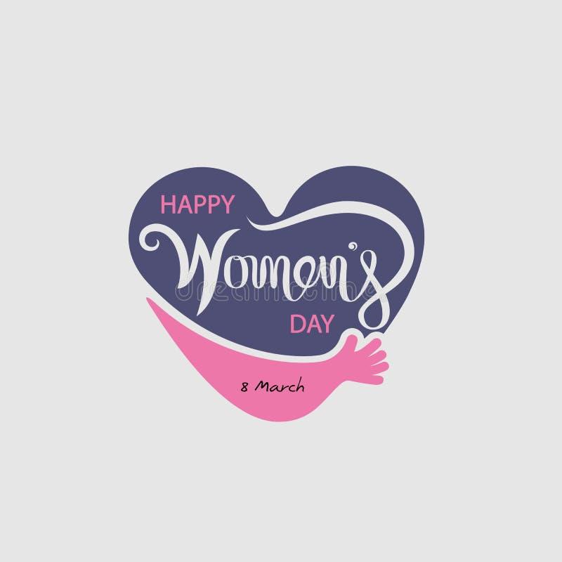 Logo del cuore ed elementi tipografici di progettazione di Giornata internazionale della donna felice rosa Simbolo di giorno del  illustrazione di stock