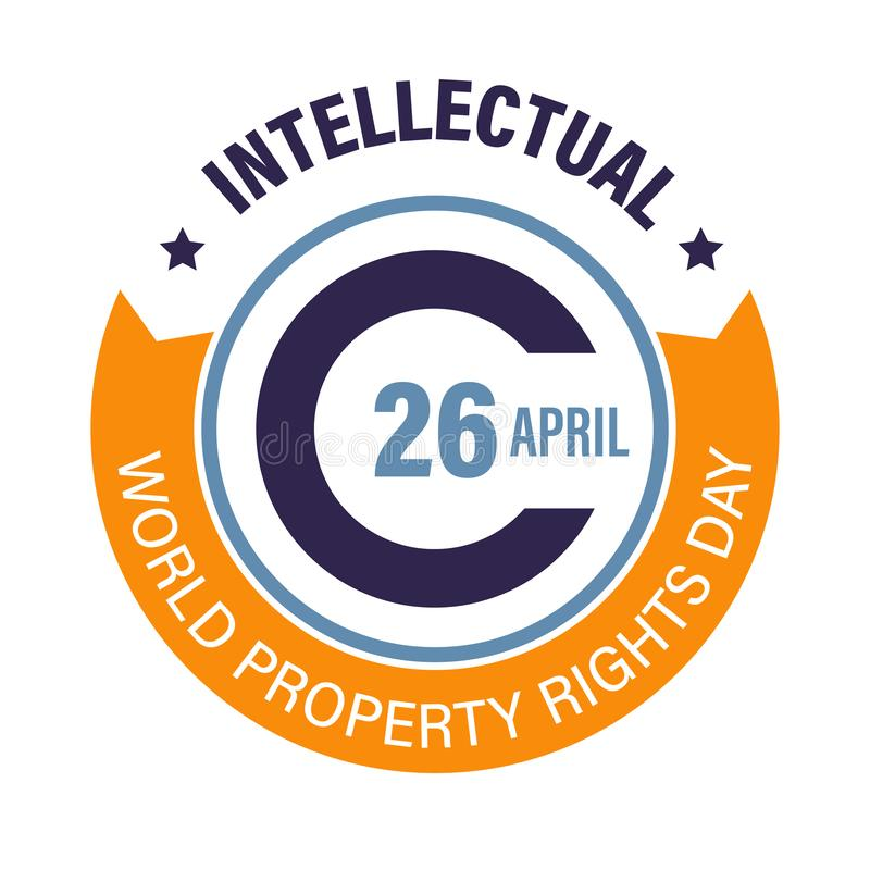 Logo del Día Mundial de los Derechos de Propiedad Intelectual con signo de copyright stock de ilustración