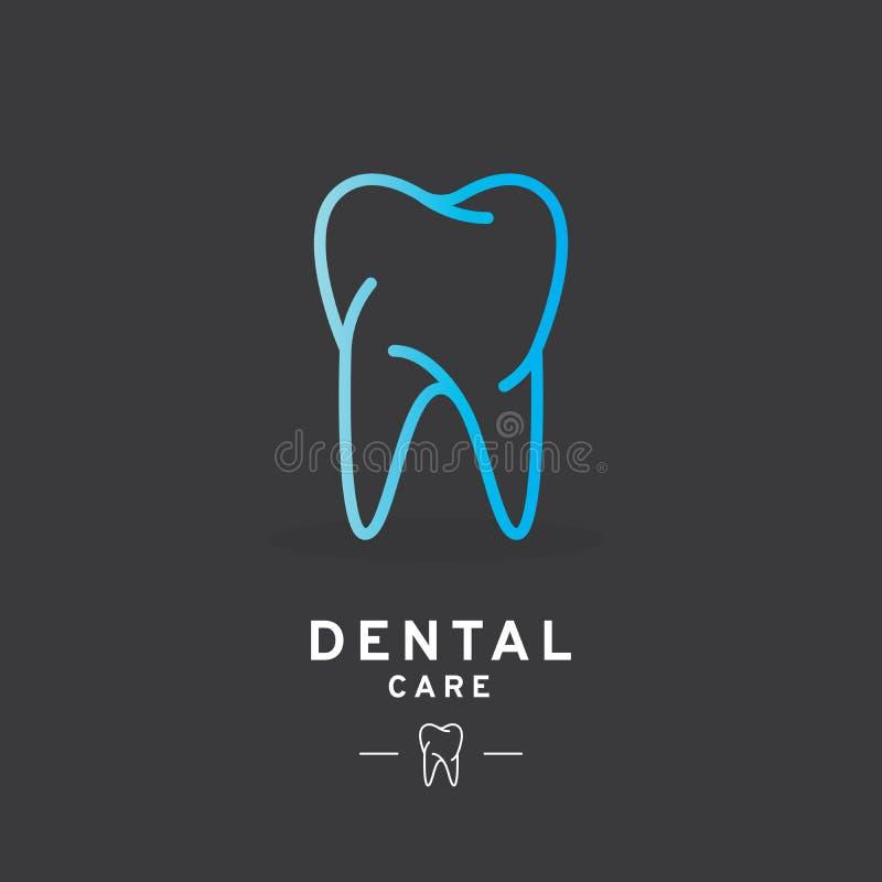 Logo del dente, icona di cure odontoiatriche illustrazione di stock