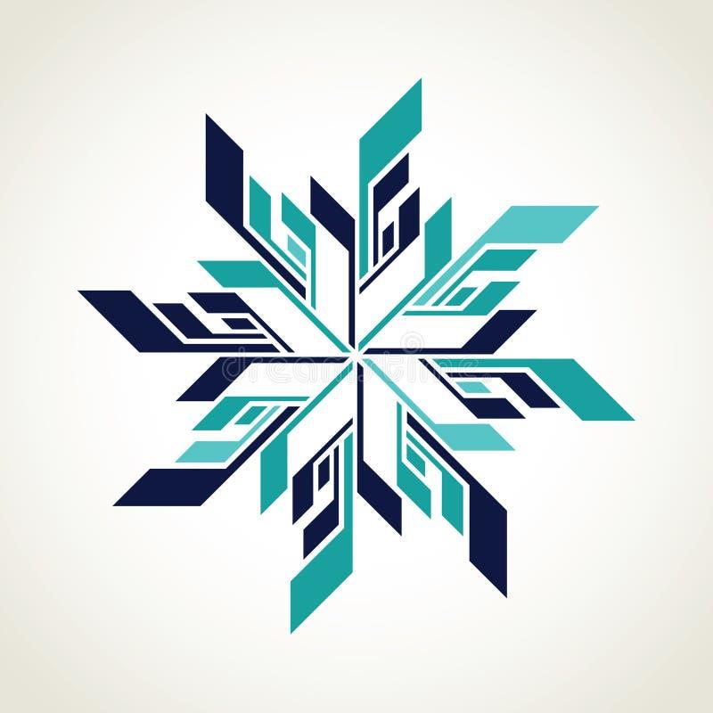 Logo del fiocco di neve del hockey su ghiaccio illustrazione di stock