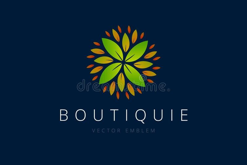 Logo del fiore con molte foglie illustrazione vettoriale