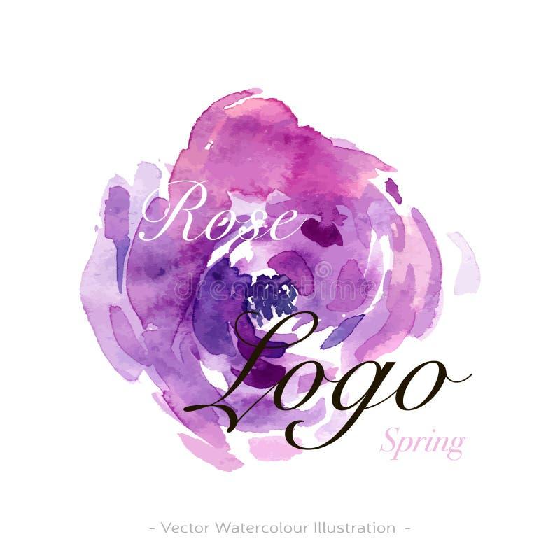 Logo del fiore dell'acquerello nel retro stile Carta da parati di stile di bellezza Segno di concetto di progetto Stile elegante  illustrazione di stock