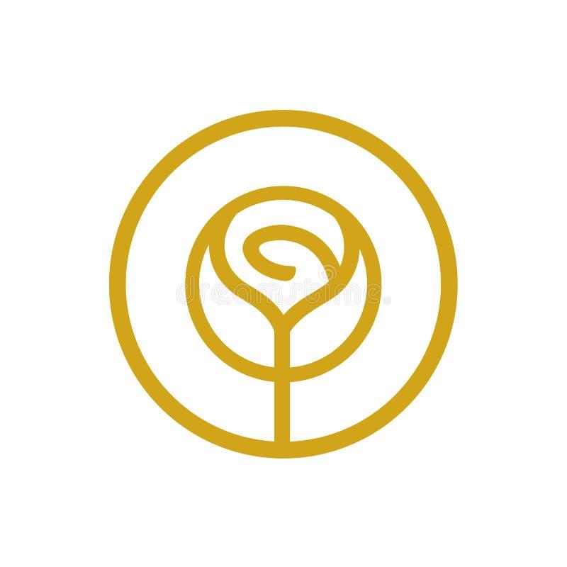 Logo del fiore di Rosa, concetto cosmetico del salone di bellezza, linea sottile icona di logo di stile illustrazione vettoriale