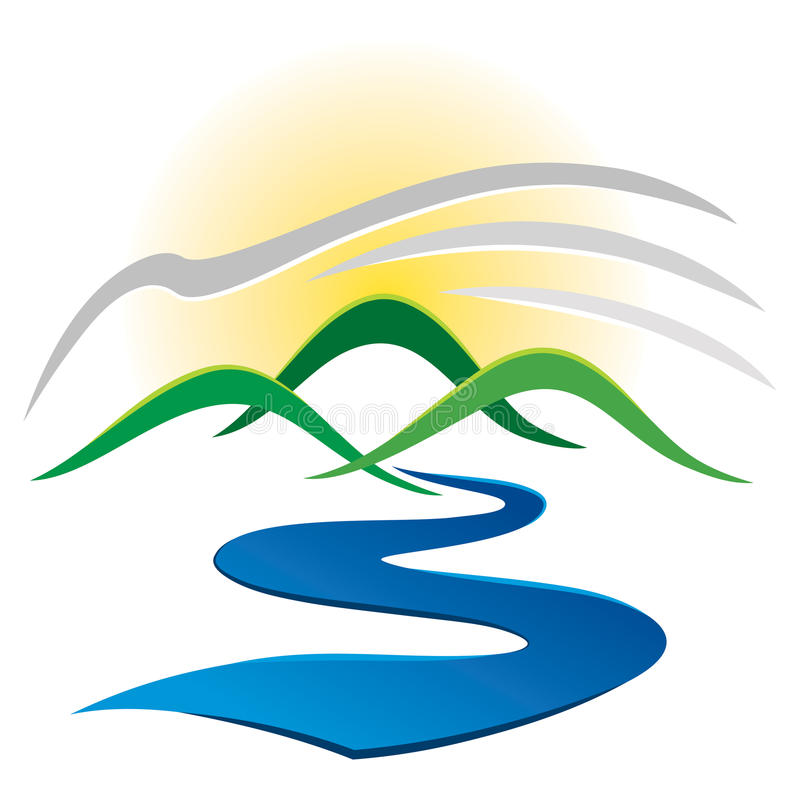 Logo del fiume della montagna