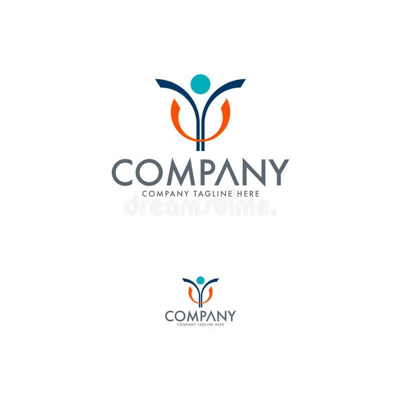 Logo del fondamento di Logo Human Logo Education Logo della gente illustrazione vettoriale
