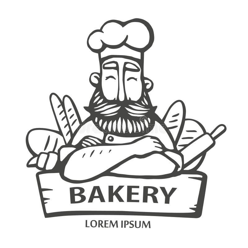 Logo del forno Illustrazione disegnata a mano di vettore del capo-fornello con i baffi e della barba dentro con un pane logo prin illustrazione di stock