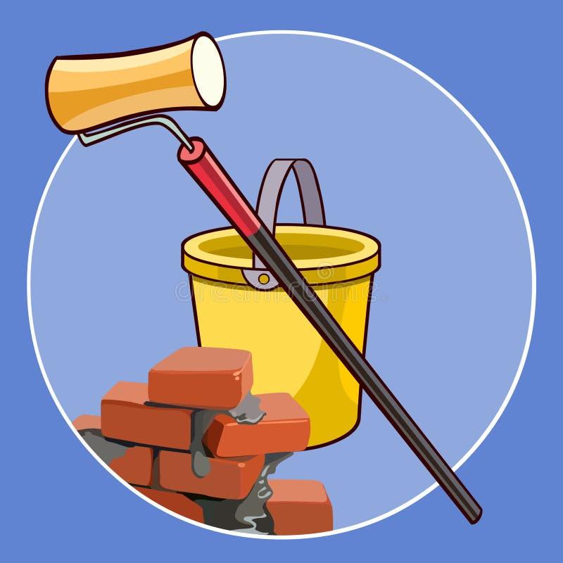 Logo del fumetto con i mattoni secchio ed il rullo di pittura illustrazione di stock