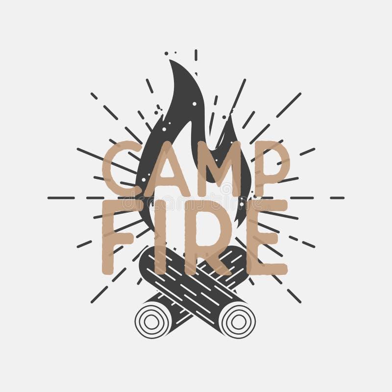Logo del fuoco del campo, manifesto con lo sprazzo di sole, raggi luminosi Segno d'annata del campo, icona tipografia Illustrazio illustrazione di stock