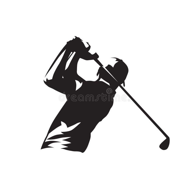 Logo del giocatore di golf, siluetta isolata di vettore illustrazione vettoriale
