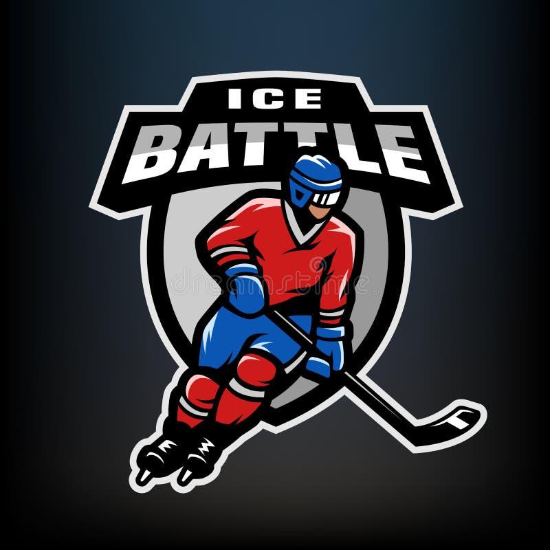Logo del giocatore di hockey, emblema illustrazione vettoriale