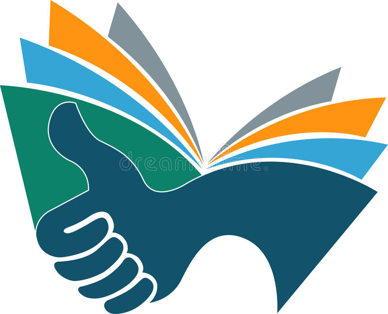 Logo del libro della mano royalty illustrazione gratis