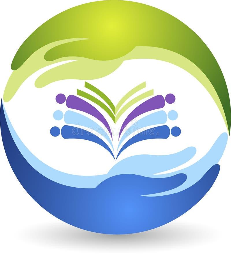 Logo del libro della mano illustrazione di stock