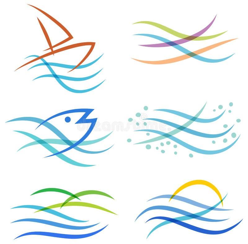 Logo del mare dell'acqua illustrazione di stock