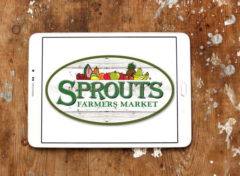 Logo del mercato degli agricoltori dei germogli fotografia stock libera da diritti