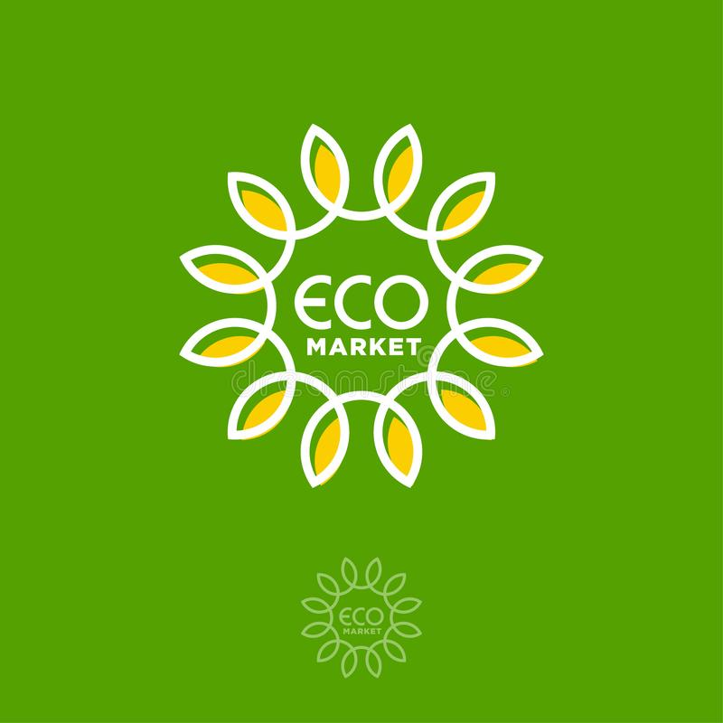 Logo del mercato di Eco Lettere e girasole come sole Emblema dei prodotti dell'agricoltore illustrazione di stock