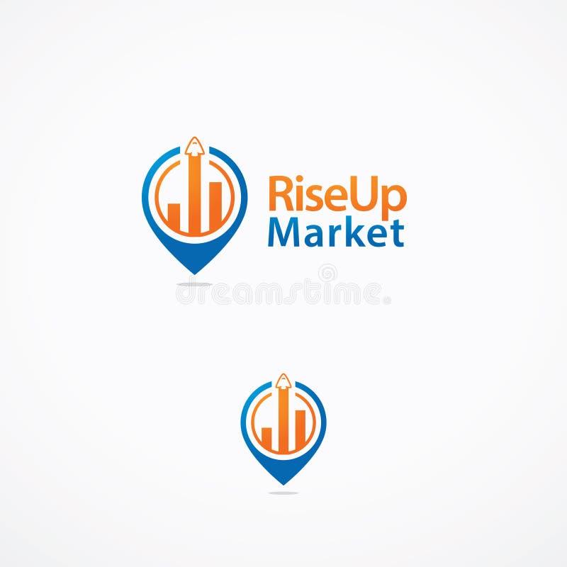 Logo del mercato di RiseUP immagini stock