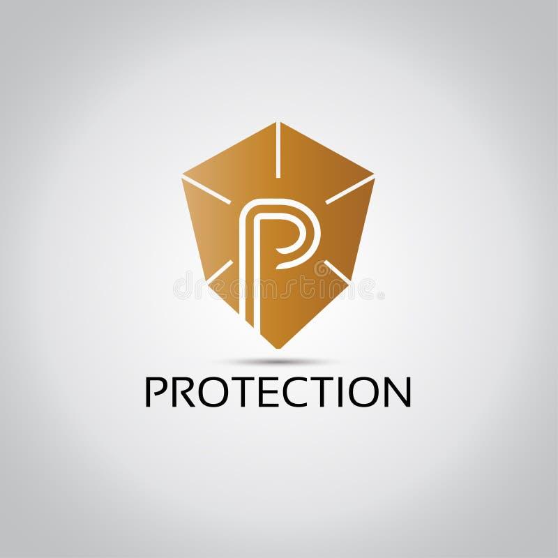 Logo del modello della lettera di P illustrazione di stock