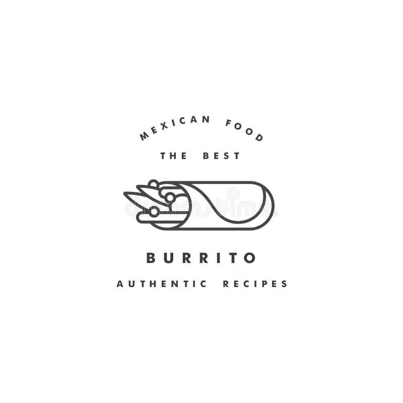 Logo del modello di progettazione di vettore ed emblema - burrito messicano Logos nello stile lineare d'avanguardia isolato su fo illustrazione di stock