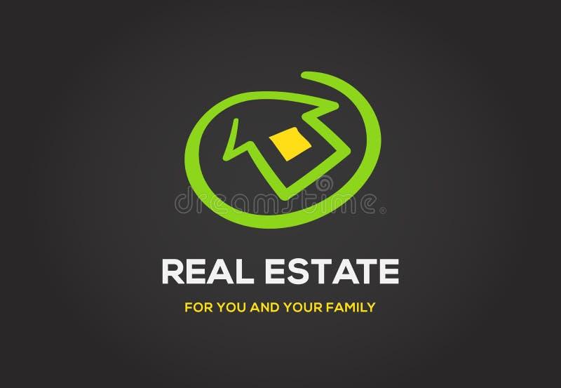 Logo del modello per la classe dell'elite della città del cottage o dell'agenzia immobiliare illustrazione di stock
