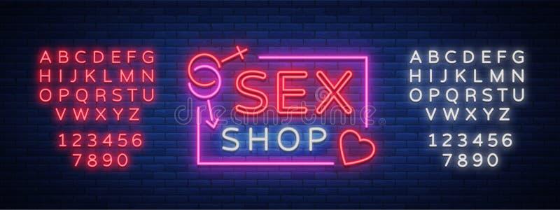 Logo del modello del sesso, concetto sexy xxx per gli adulti nello stile al neon Insegna al neon, elemento di progettazione, stoc illustrazione di stock