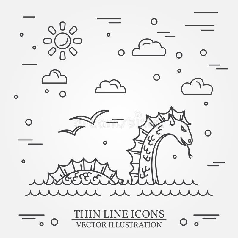 Logo del mostro di Loch Ness Linea sottile icona per web design e il appli illustrazione di stock