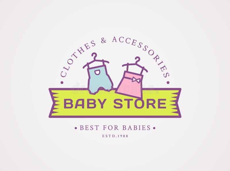 Logo del negozio del bambino Simbolo di vettore con i vestiti del ` s dei bambini illustrazione vettoriale