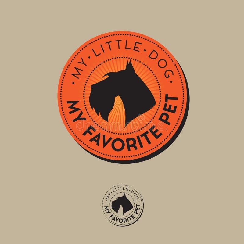Logo del negozio di animali Alimento per l'emblema del cane Merci per gli animali domestici Fondo di vettore del cane silhouette illustrazione di stock
