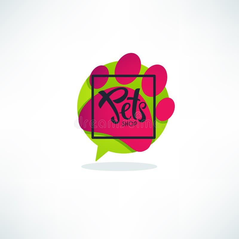 Logo del negozio di animali, immagine di vettore del fumetto di verde del vibrnt, cane royalty illustrazione gratis