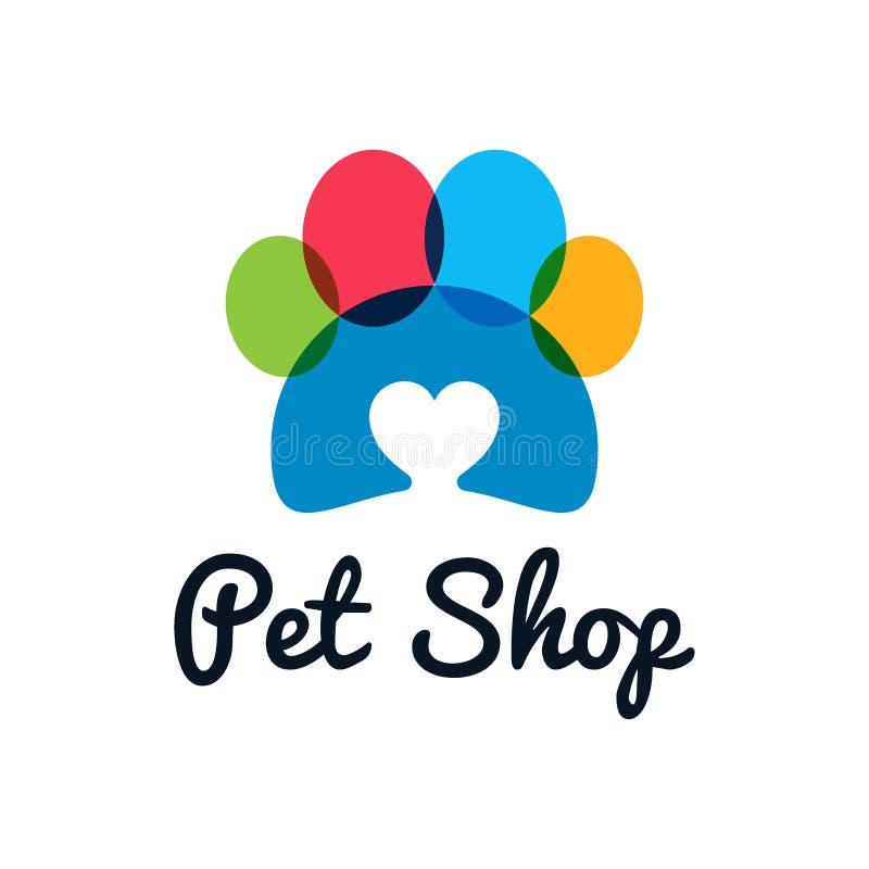 Logo del negozio di animali Zampa dell'animale domestico con cuore su fondo bianco illustrazione vettoriale