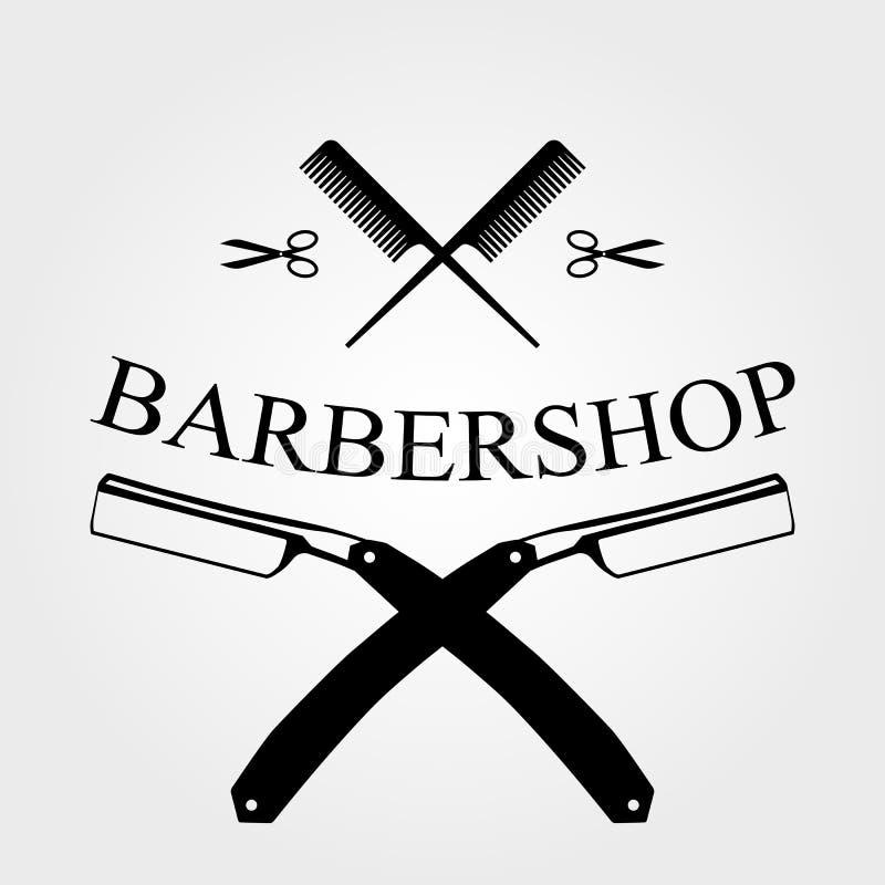 Logo del negozio di barbiere fotografia stock
