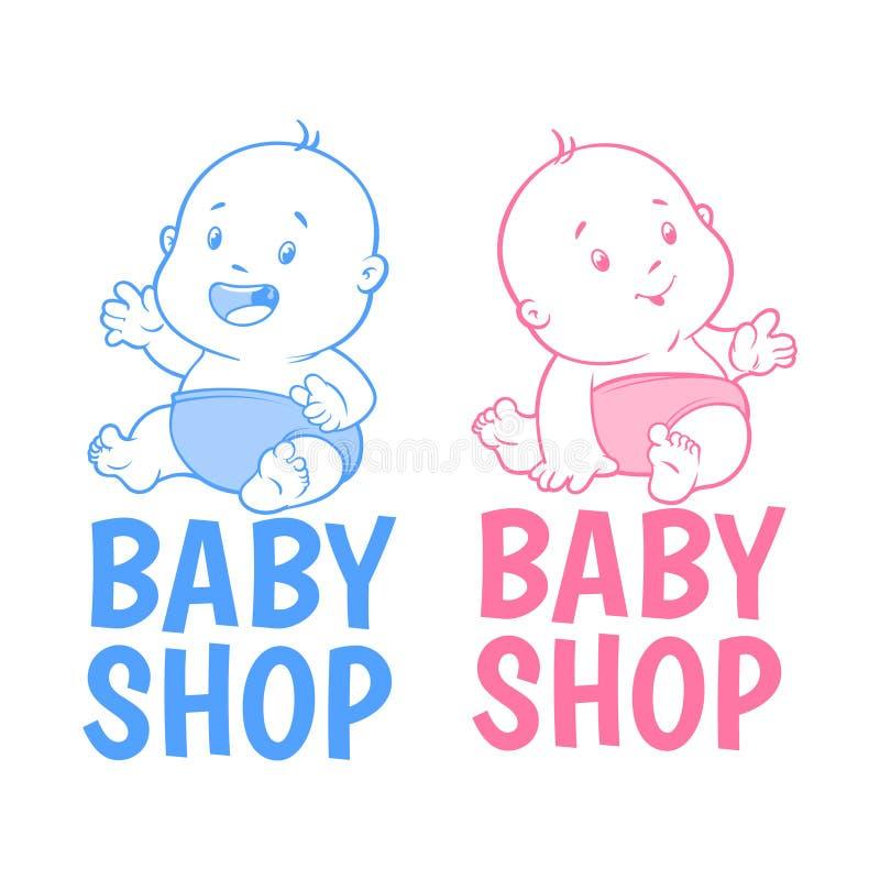 Logo del negozio di due bambini fotografia stock libera da diritti